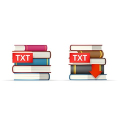 Txt books stacks icons vector