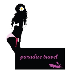 Paradise travel with girl and airplane vector