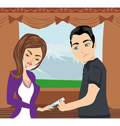 Scared girl with a positive pregnancy test vector