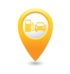 Petrol station and car map pointer yellow vector