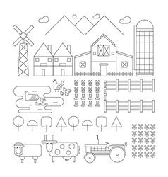 Farm line organic set vector