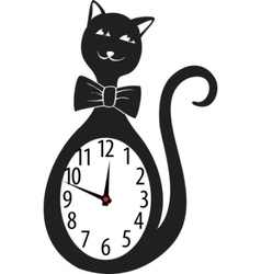 Cute wall clock cat sticker vector