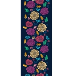 Colorful vibrant flowers on dark vertical seamless vector
