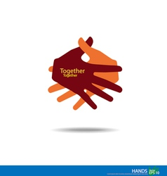 Handshake teamwork hands logo vector