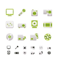 Media equipment icons vector