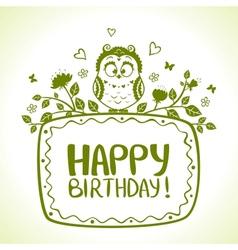 Owl birthday vector
