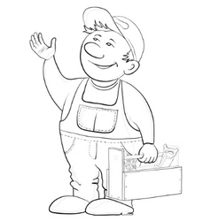 Worker with a toolbox contours vector