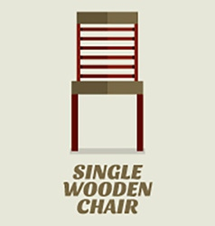 Single wooden chair flat design vector