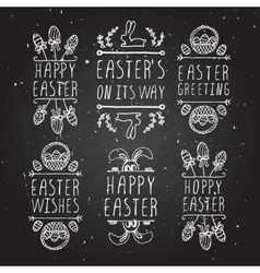 Hand-sketched easter typographic elements vector