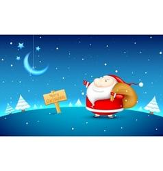 Santa claus in christmas night vector