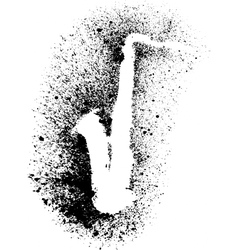 Silhouette of saxophone with grunge black splashes vector