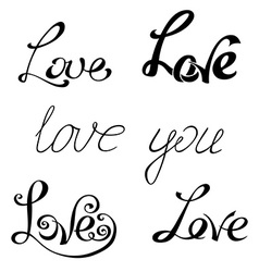 Set of hand-written words vector