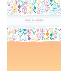 Colorful tulip flowers torn frame vertical vector