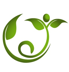 Healthy leaf men fitness logo vector