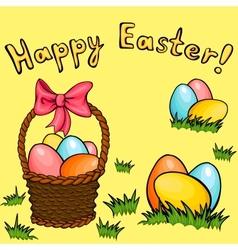 Easter egg basket greeting set vector