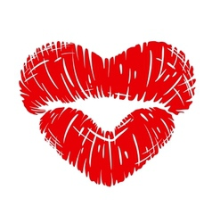 Red lips print in heart shape vector