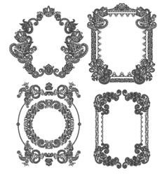Black line art ornate flower design frame vector