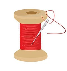 Red thread wooden spool vector