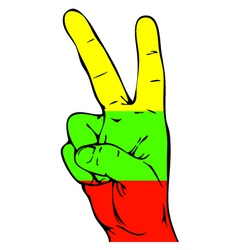 Peace sign of the lithuanian flag vector