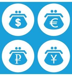 Blue purse icons set vector