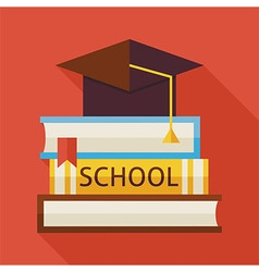 Flat graduation from school with hat and books vector