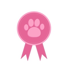 Badge with dog cat paw print and ribbons award vector