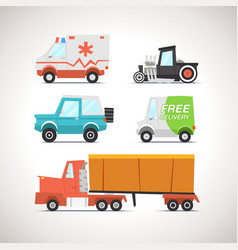 Car flat icon set 3 vector