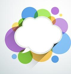 White paper cloud over color bubbles vector