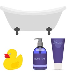 Bath and bathroom accessories vector