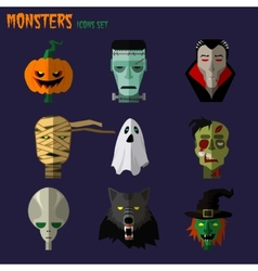 Monsters set of icons vector