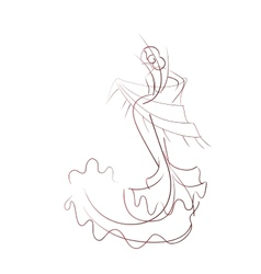 Gesture drawing flamenco dancer expressive pose vector