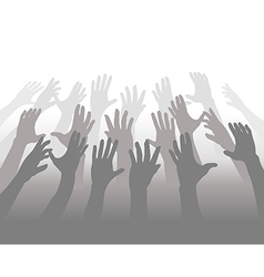 Hands of crowd of people reach for copyspace vector