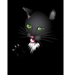 Funny cartoon black cat vector