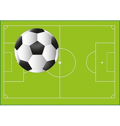 Football ball on the background with pitch vector