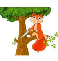 Funny squirrel saws branch vector