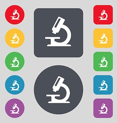 Microscope icon sign a set of 12 colored buttons vector