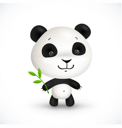 Little cute panda bear with green leaves vector