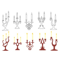 Set of black and brown candelabras vector