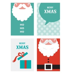 Four retro cards for christmas in hipster style vector