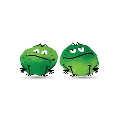 Funny frogs watercolor sketch for your design vector