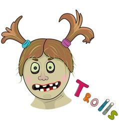 Scary girl troll vector