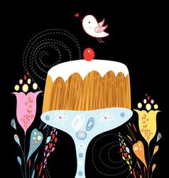 Cake and bird vector