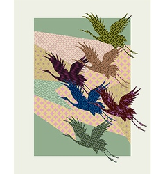 Silhouettes of japanese cranes filled with vector