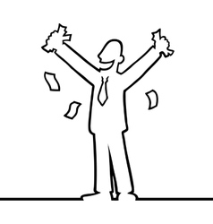 Business man cheering with money in his hands vector