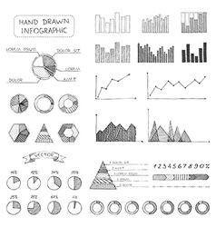 Set of sketch business infographic elements vector