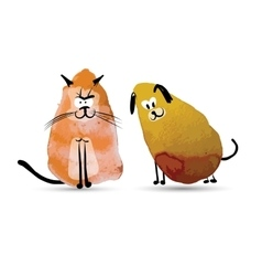 Funny cat and dog watercolor sketch for your vector