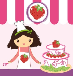 Cute girl strawberry vector