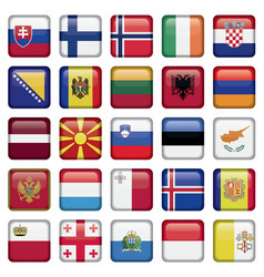 Europe buttons square flags vector
