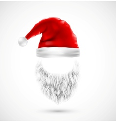 Accessories santa claus hat and beard eps 10 vector