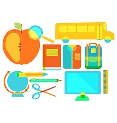 Color school icon collection vector